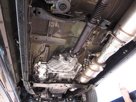 Automotive media had the opportunity to inspect the underside of a 2016 Nissan Titan XD to get a...