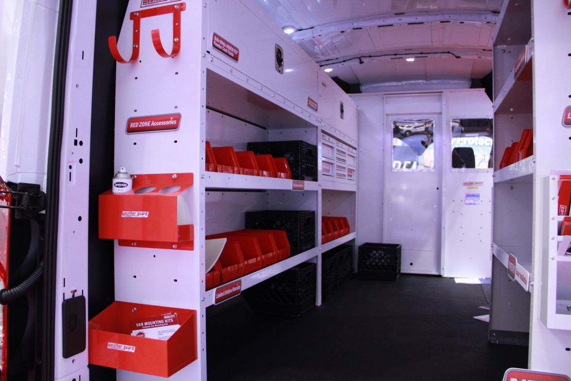 Weather Guard displayed a van with a variety of shelving and storage options.