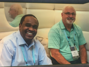 Kirk Budhai (left), fleet manager for Hearst Corp., networks at the 2017 Element Roundtable with...