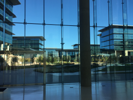 View from the Toyota lobby of open atrium style area. The two buildings on the left are Toyota...