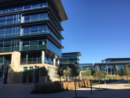 The primary facade of the TMNA headquarters is glass. More than 12 acres of glass was used. In...