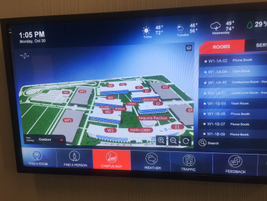 Graphic representation of TMNA corporate campus as displayed on one of the many smart boards...