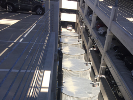 Rain water is captured at the four parking structures are captured in cisterns (shown in photo)...