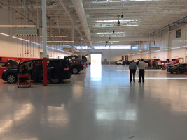 The TMNA headquarters also includes a vehicle Center to service team member vehicles.