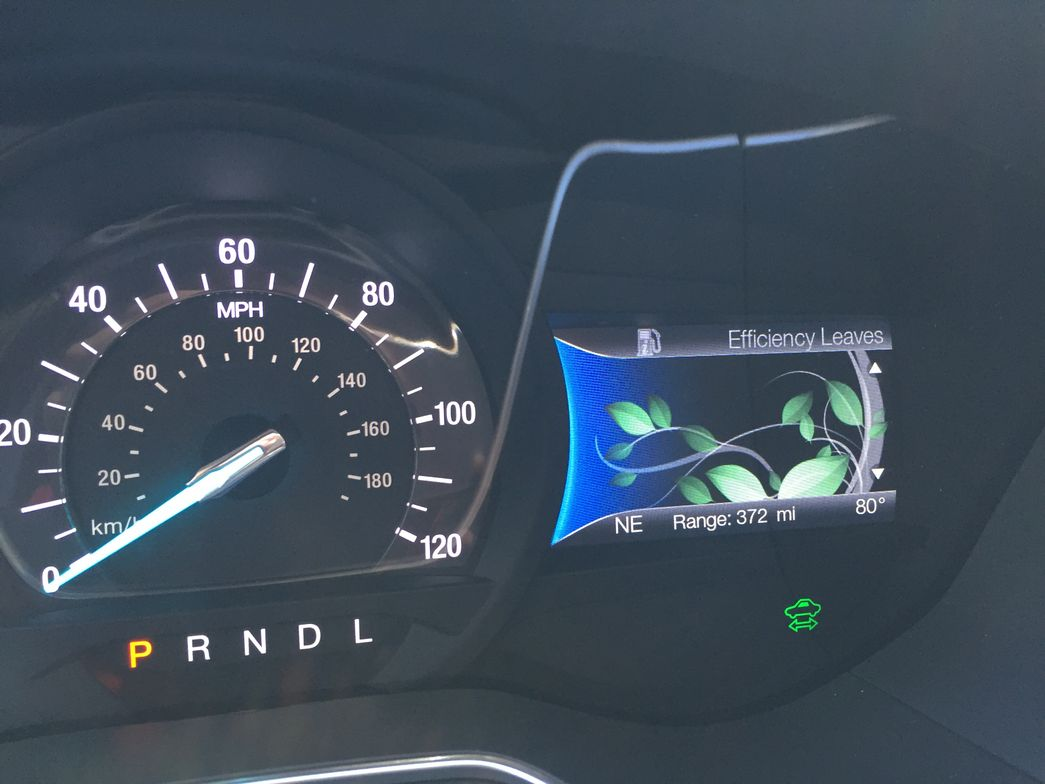 The instrument panel cluster display shows growing leaves to gauge eco driving. Fuel economy is...