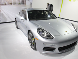 The Porsche Panamera S e-hybrid is a supercharged V-6 PHEV with an eight-speed gearbox and top...