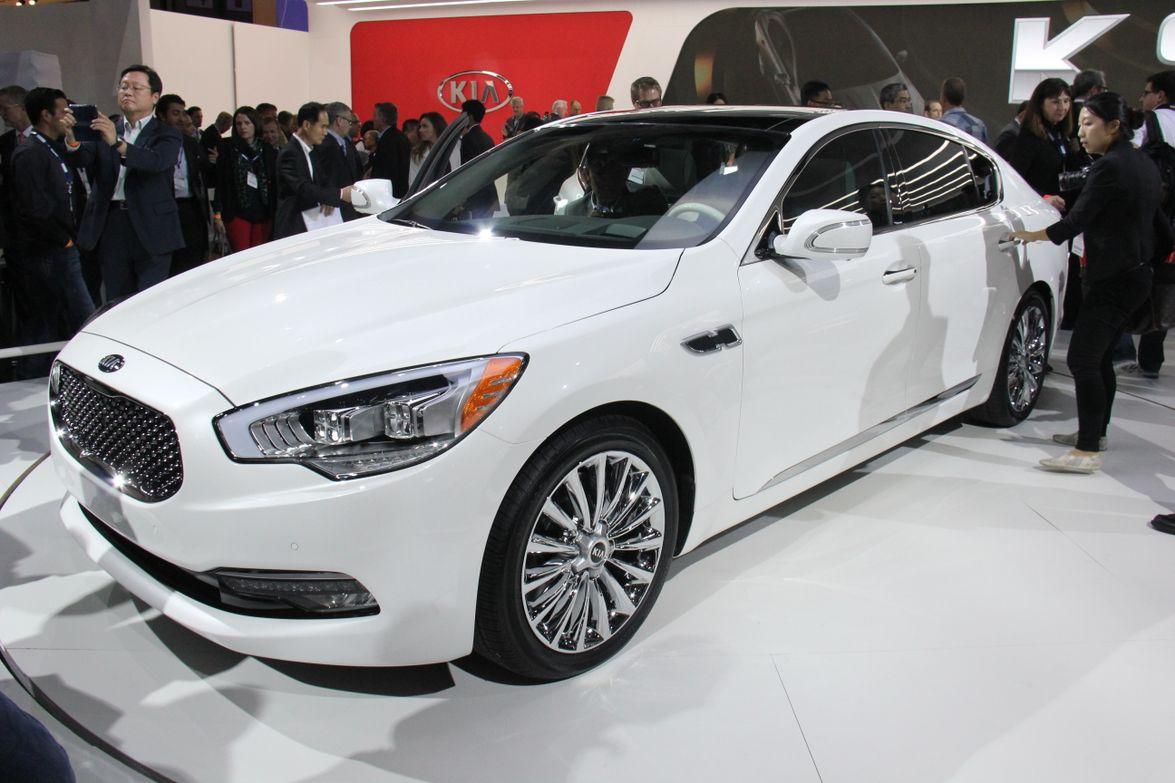The 2015 Kia K900 luxury sedan will offer a rear-wheel drive V-8 or V-6 when it goes on sale by...