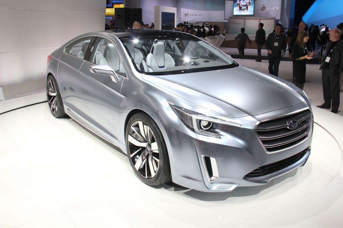 The coupe-like Subaru Legacy Concept has custom Ocean Silver metallic paint.