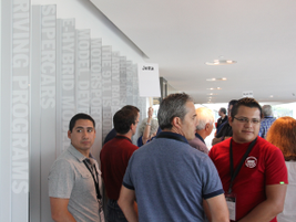 Fleet managers get ready for a tour of the Porsche headquarters and driving experience track.