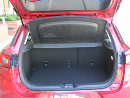 The CX-3 offers 12.4 cubic inches of cargo capacity with the rear seats up.