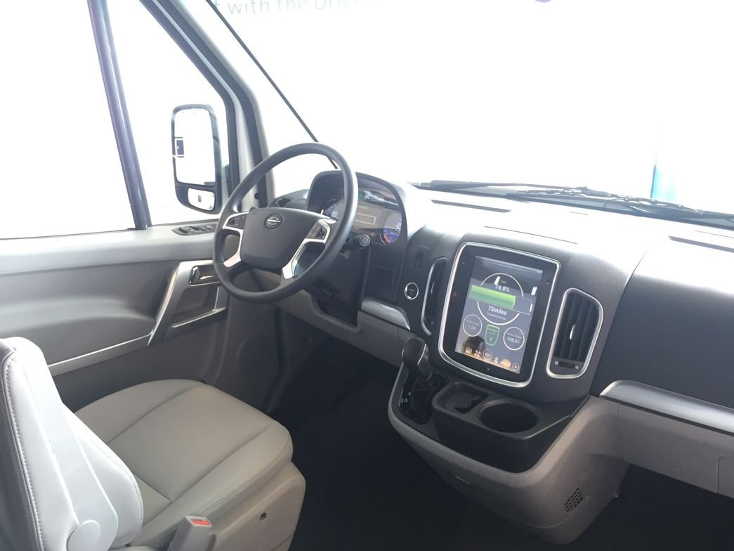 The cabin provides ample room for drivers with various body types.