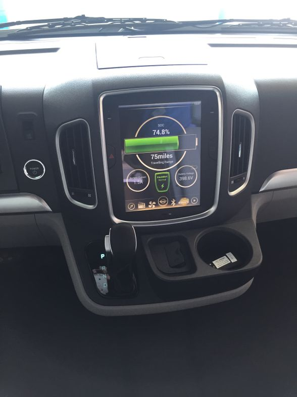 A 10-inch display in the dashboard shows a variety of operating info.