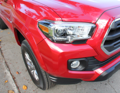 The new Tacoma front end offers a more aggressive nose and headlamps.