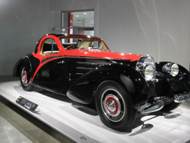 The 1939 Bugatti Type 57C Atalante was powered by a supercharged 160-hp engine.