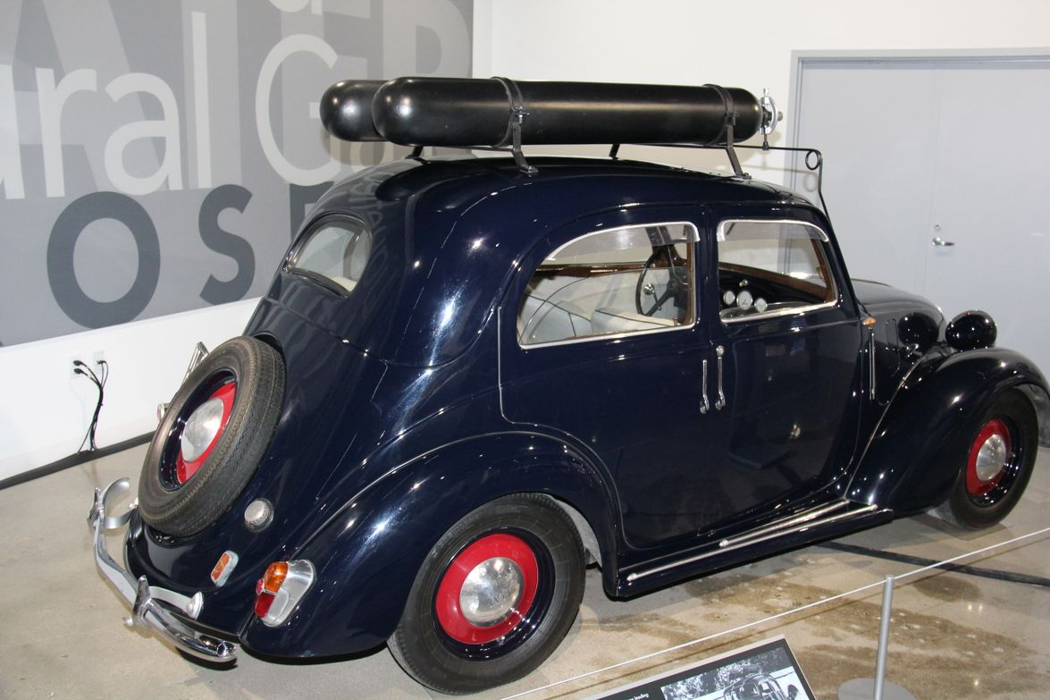 This 1939 Fiat 508C Balilla is the first CNG-powered car. It could reach a top speed of 80 mph...