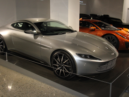 "This 2016 Astin Martin DB10 was used in the 2015 James Bond movie ""Spectre."""