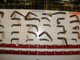 """These """"roof buck"""" welding tips are used to build the van."""