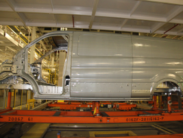A mated Transit body and underbody moves to the next phase.