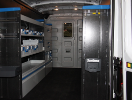 This upfit used racks and binds from the Sortimo by Knapheide line with a Knapheide bulkhead.