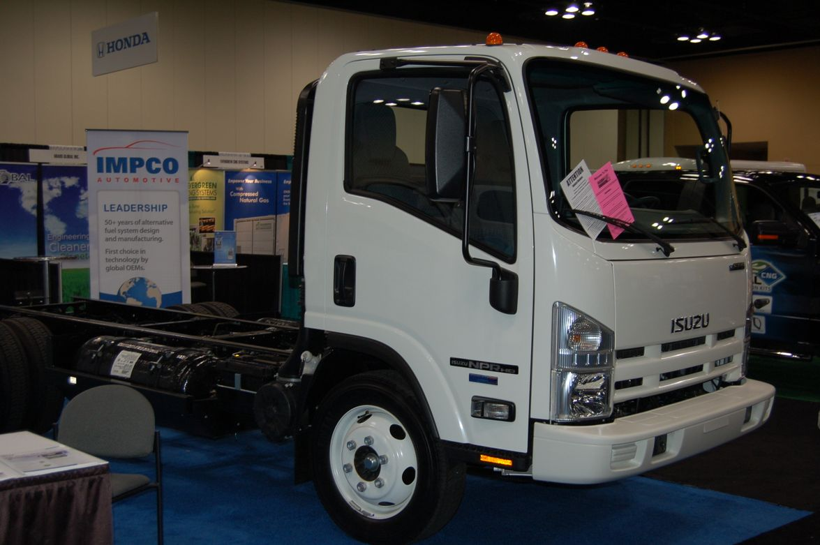 IMPCO brought an Isuzu NPR fueled by natural gas to the event. Photo by Greg Basich.