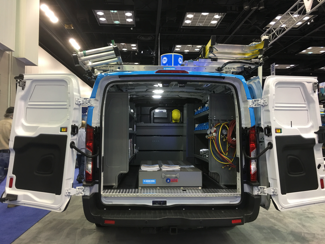 This van from Adrian Steel includes shelving, drawers, and ladder racks to maximize vehicle space.