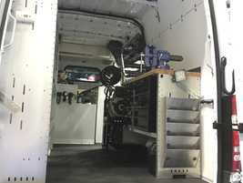 This van, on display by Auto Truck Group, is equipped to repair vehicles on the road or in the...