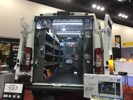 Terminal Supply Co. displayed a van with shelving and plenty of hooks to hold equipment without...