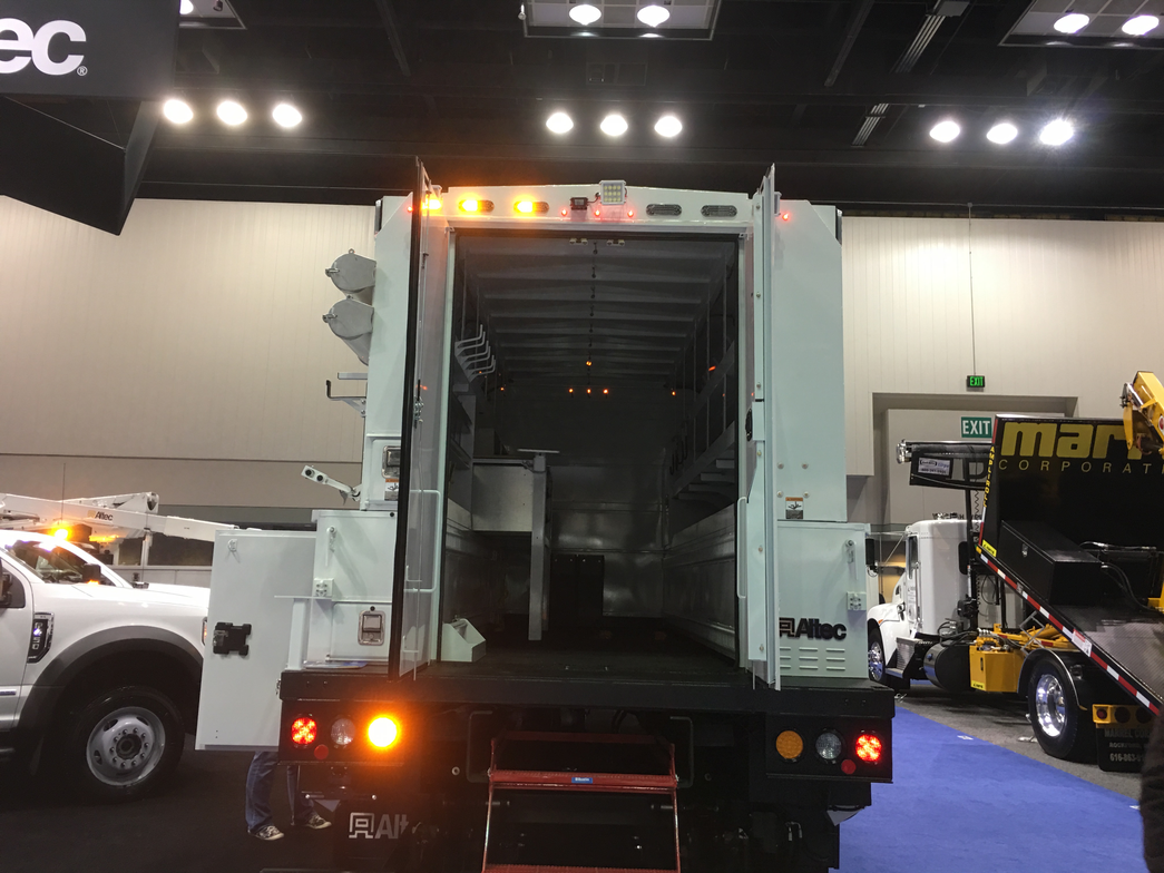 This upfit on display by Altec featured plenty of storage options, along with flashing lights.