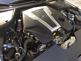 The Q50 Red Sport 400 is powered by a 3.0L V-6 twin turbo engine.
