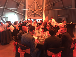 Attendees gathered at the iconic Atomimium landmark in Brussels for a dinner hosted by LeasePlan...