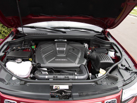 The 3.0-liter V-6 EcoDiesel is paired with an 8-speed automatic transmission.