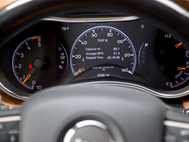 A 7-inch LCD instrument cluster serves data about tire pressure, fuel economy, and trip information.