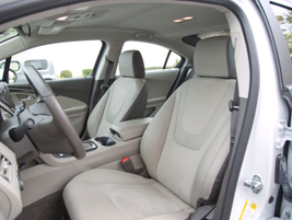 While the Volt's rear seating isn't spacious, front seating provides enough leg-room.