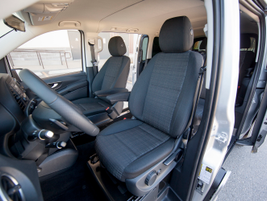 Optional seating can accommodate seven passengers and the driver.