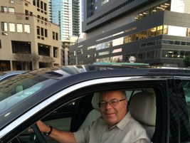Automotive Fleet Editor Mike Antich behind the wheel of a Chrysler 300 Limited