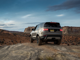The Discovery perched on a rock hill in the desert near the Arizona-Utah border.