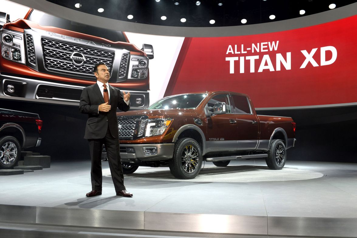 Carlos Ghosn, president and CEO of Nissan Motor Co., presents the 2016 Nissan Titan XD at the...