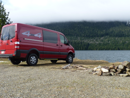 The Sprinter crew van accommodates five passengers (or five happy campers) while leaving 144...