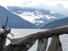 We followed the Columbia River north toward the Monashee Mountains, best known for the Mica Dam...