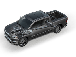 See-through schematic showing the eTorque mild hybrid system  on the 2019 Ram 1500 that is...