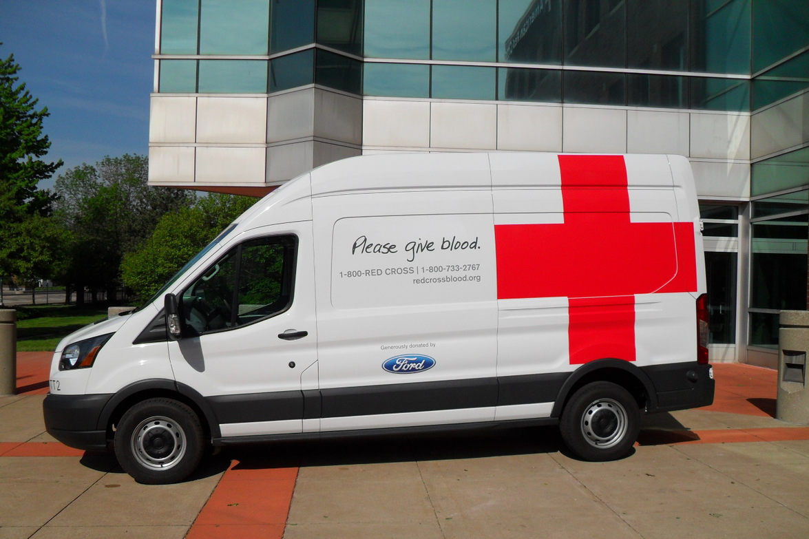 Five new Ford Transit vans are in use as Red Cross emergency response and life-saving blood...