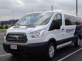 XL Hybrids gave attendees the opportunity to test a hybrid-electric Ford Transit.