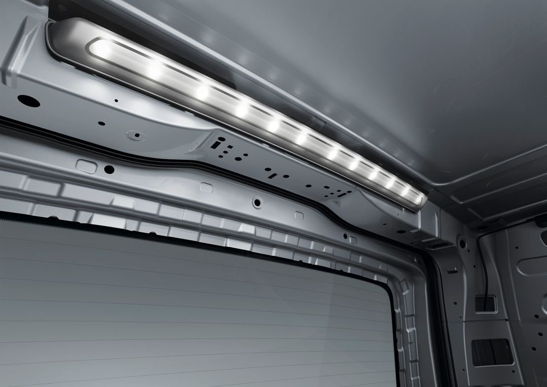 Interior lighting improves visibility for nightime deliveries.