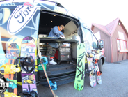 This shred-ready Ford Transit is modified with a custom boot dryer, snowboard rack, tuning bench...
