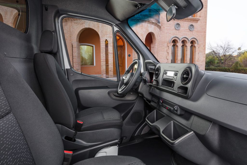 The third-gen Sprinter features a backup camera with a wiper system to improve visibility in the...