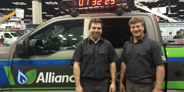 With a goal of two hours, the two technicians converted the truck in a record-setting one hour...