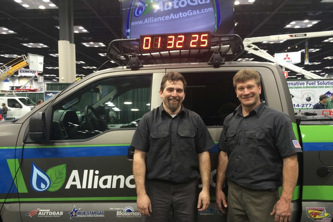 With a goal of two hours, the two technicians converted the truck in a record-settingone hour...