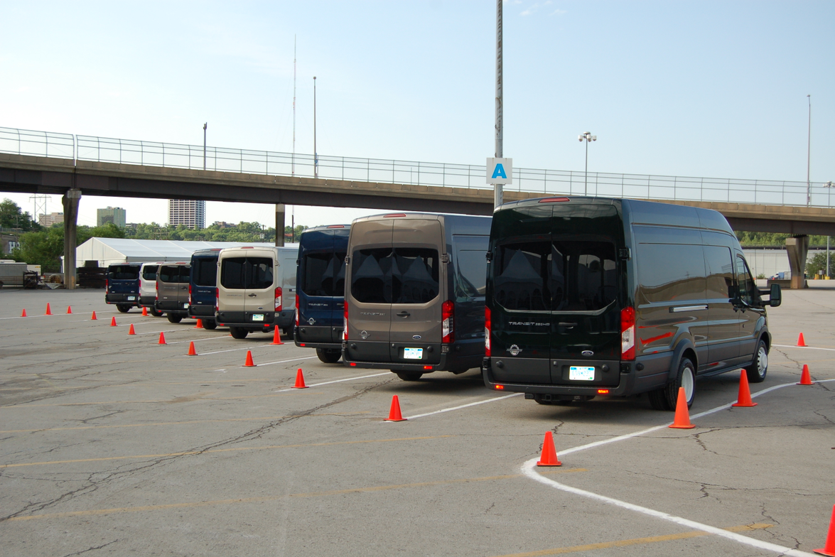 Ford offered its full line up of 2015 Transit vans for testing in a closed course next to Kemper...