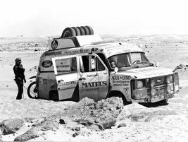 Race the sand dunes. This Transit battled over 7,500 miles of North African desert.