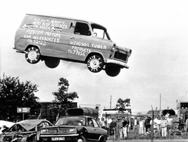 Be a stuntman for a day. Steve Matthews used his Transit to leap over 15 old cars. The only...